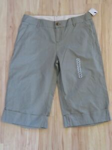 New Women's Hurley Cuffed Capris Gray Khaki Cropped Chino Pants Junior's Size 9