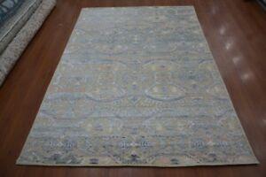 Indian 6x9 180x270 Handmade Knotted Modern Wool Art Silk Carpet Area Rug Hali