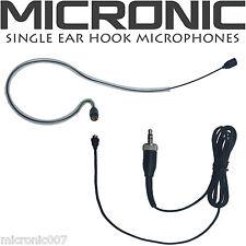 BLACK SINGLE EAR HOOK HEAD WORN MICROPHONE for WIRELESS BODY PACKS TRANSMITTERS