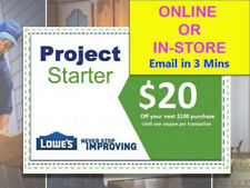 TWO Lowes $20 OFF $100 LowesCoupons -EXP 10/31/17-fast>Faster>FASTEST DELIVERY