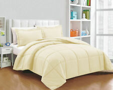 200 GSM Down Alternative Comforter Egyptian Cotton Solid Ivory Cal King Size