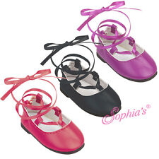 "BLACK  Ballerina Flats Shoes Dress Shoes fits 18"" American Girl Doll"