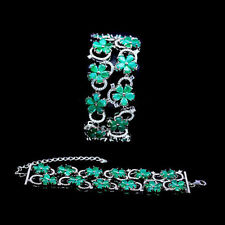 Armband, 925 Sterling Silber, Natural 4x5,2 mm. grüner Smaragd & Cubic Zirconia