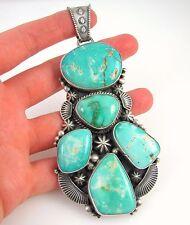 Huge VERDY JAKE Navajo Handmade 925 Sterling Silver Royston Turquoise Pendant J