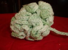 handmade bath pouf green and white