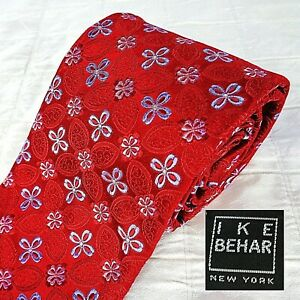 "IKE BEHAR Silk Tie Glossy Red + Blue Red Abstract Floral Handmade USA 3.75""x59"""