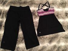 Lululemon 2 Woman Reversible Mesh Dance Top & Capri Cotton Black Pants Lot Of 2