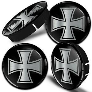 4x 60mm / 55mm Universal Wheel Hub Cover Center Rim Caps Iron Cross Black C 112