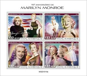 Mozambique 2021 MNH Marilyn Monroe Stamps Celebrities Film Actresses 4v M/S