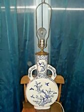LARGE Chinese Blue and White Porcelain Vase Figural Motif Table Lamp