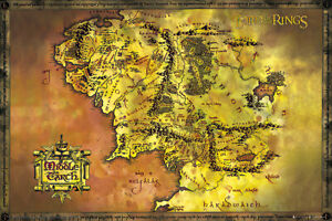 """The Lord Of The Rings / Hobbit - Map Of Middle Earth - Movie Poster (36"""" X 24"""")"""