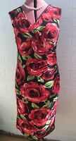 PHASE EIGHT BLACK RED FLORAL PRINT BODYCON JERSEY DRESS 12 PARTY EVENING Special