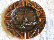 Vintage 4 5/8 Inch Souvenir De La Tour Eiffel Ashtray Copper - Brass - Bronze