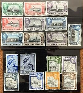 Falkland Islands & Dependencies, 1938 - 1948, 18 Mint (MH) or Used Stamps