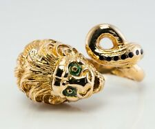 Lion Ring Enamel 18K Gold Animal Head Vintage Estate