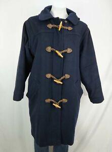 L.L.Bean Women's Wool Duffel Toggle Hooded Coat Navy Blue Size s