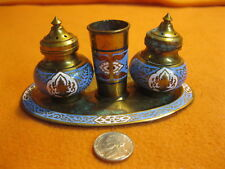 Vintage Brass Enamel India Salt and Pepper Shakers Tray Toothpick Urn 77