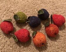 Vintage Sugar Beaded Fruit  Set Of 8