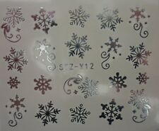 Nail Art Water Decals Stickers Christmas Metallic SILVER Snowflakes Star STZY12