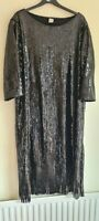 Heine Black Sequin Tassel Dress Size 20