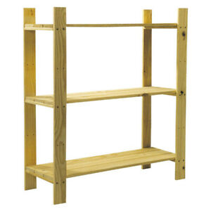 TOP QUALITY Solid Wooden Storage Shelf 3 Tier Shelving Unit Garage Home Bookcase