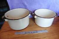 2 Pots Enamel ware Ivory cream off white brown handles sauce stock pot Vintage