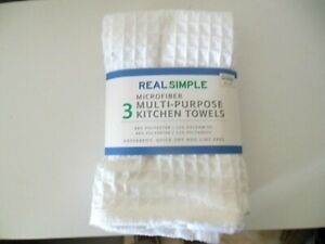 NEW Microfiber Multi-Purpose Kitchen Towels Package of 3 White Waffle Weave