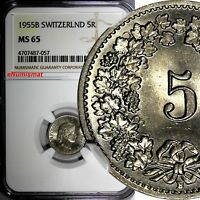 SWITZERLAND Copper-Nickel 1955 B 5 Rappen NGC MS65 HELVETICA KM# 26