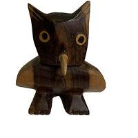 Vintage 1960s Original Hand Carved Wood Horned Owl Figure MCM