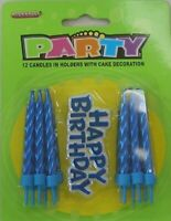 BLUE BIRTHDAY CANDLES PACK OF 12 AND PLASTIC HAPPY BIRTHDAY CAKE TOPPER BIRTH...