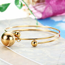 Gold Stainless Steel Cuff bangle Large Ball Charms bracelet Women Jewelry gifts