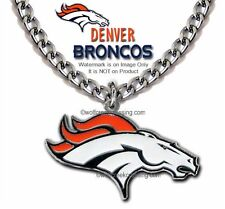 """LRG DENVER BRONCOS NECKLACE 24"""" STAINLESS STEEL CHAIN NFL FOOTBALL - FREE SHIP'"""
