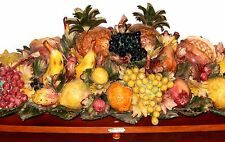 Fullin MOLLICA Capodimonte Fruit Centerpiece Signed Wood Base LARGE 39in 40lbs