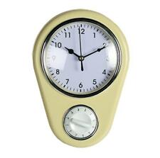 Vintage Retro Pastel Colour Kitchen Wall Clock With Kitchen Cooking Baking Timer