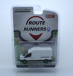 CHASE, Greenlight Route Runners Series 1, 2019 Ford Transit White, Green Machine