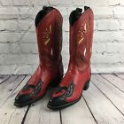 Vintage Acme Boot Red Black Toe Leather Western Cowboy Boots 6.5M Floral Cutwork