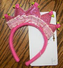 NWT KOALA BABY girls Pink Sparkle Rose CROWN HEADBAND* Toddler