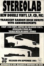 """4/9/93PGN04 ALBUM ADVERT 7X5"""" STEREOLAB : TRANSIENT RANDOM NOISE BURSTS WITH ANN"""