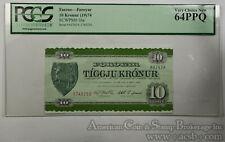 Faeroe Islands 10 Kroner MS64 PPQ PCGS 1974 SCWPM#16a Foroyar Scarer Condition