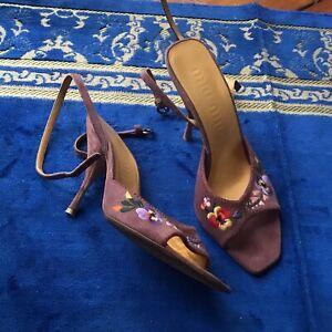 Miu Miu Floral Embroided Ankle Strap Sandal 37