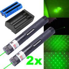 2x 990Miles 532nm Green Star Beam Laser Pointer Pen Astronomy Lazer+Batt+Charger