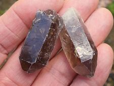 2 x SMOKEY QUARTZ CRYSTAL ROUGH UNPOLISHED POINT BRAZIL 30mm - 40mm BAG ID CARD