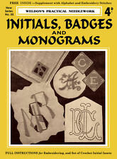 Weldon's 4D #55 c.1931 Embroidery Instruction for Initials, Badges and Monograms