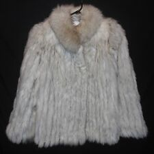 Vtg. Fox Fur Coat Blue Fox Plush Collar Very Nice Size Large