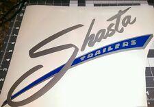 SHASTA camper Vinyl Decal Sticker large silver with blue background