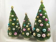 Green Bottle Brush Trees Set of 3 vintage-style Easter Spring Pastel Ornaments