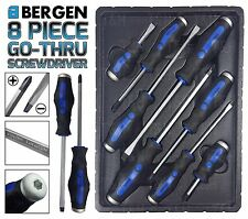 BERGEN HEAVY DUTY MAGNETIC TIP GO THRU SCREWDRIVER SET CUSHION GRIP 8pc Philips
