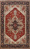 Geometric Hand-knotted Heriz Serapi Oriental Area Rug Living Room Carpet 9x12 ft