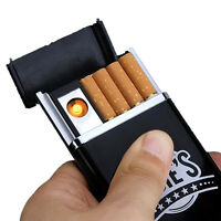 Black Dual Arc USB Electric-Rechargeable Flameless Lighter Cigarette Cigar Box