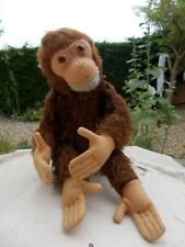 """VINTAGE GERMAN TOY~ 10"""" MOHAIR STEIFF MONKEY~FULLY JOINTED WITH GLASS EYES~NO ID"""